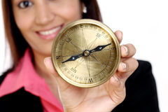 Business woman with compass Royalty Free Stock Image