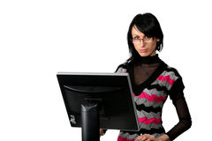 Business woman with computer Royalty Free Stock Images