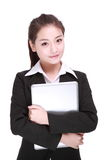 Business woman with computer Stock Image
