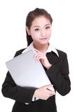 Business woman with computer Royalty Free Stock Photography