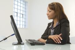 Business woman with computer Stock Photography