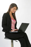 Business woman with a computer Stock Images