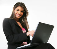 Business woman with a computer Stock Photos