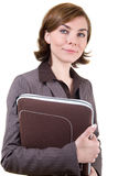 Business woman with computer case Royalty Free Stock Photography