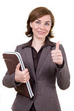 Business woman with computer case Royalty Free Stock Image