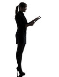 Business woman computer computing  silhouette Stock Photos