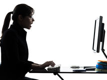 Business woman computer computing  surprised  silhouette Stock Photos