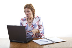 Business woman computer crash Royalty Free Stock Images