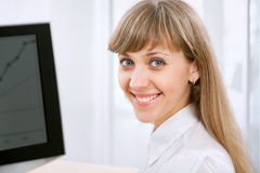 Business woman with computer Royalty Free Stock Photo