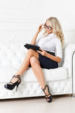 Business woman with computer tablet. Royalty Free Stock Images