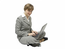 Business-woman con il computer portatile immagine stock libera da diritti