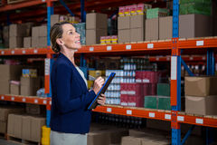 Business woman is concentrating during his work. In a warehouse royalty free stock photography