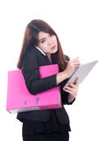 Business woman concept multi task with phone , document and computer tablet Stock Images
