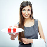 Business woman concepts portrait. Woman hold plate with bonus, Stock Photography