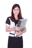 Business woman confident smile holding folder documents Royalty Free Stock Photo