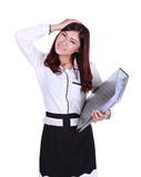 Business woman confident smile holding folder documents Royalty Free Stock Image