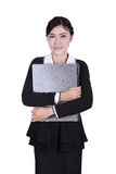 Business woman confident smile holding folder documents isolated Royalty Free Stock Image