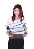 Business woman confident smile holding folder documents Stock Image