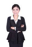 Business woman confident smile standing isolated on white Royalty Free Stock Photos