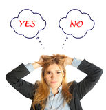 Business woman confused to say Yes or No Stock Photography