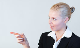 Business woman contemplating Royalty Free Stock Photos