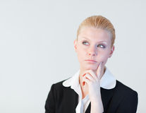 Business woman contemplating Stock Photo