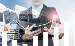 Business woman is controling business of logistics transportation stock image