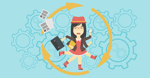 Business woman coping with multitasking. Stock Images
