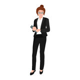 Business woman in costume, files and case, office worker team. Business woman in costume with files and case, office worker team vector illustration Royalty Free Stock Photo