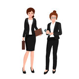 Business woman in costume, files and case, office worker team. Business woman in costume with files and case, office worker team vector illustration Stock Images