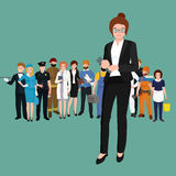 Business woman in costume, files and case, office worker team. Business woman in costume with files and case, office worker team vector illustration Royalty Free Stock Photography
