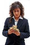 Business woman counting. Money stock images