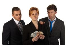 Business woman counting money with colleagues Stock Photography