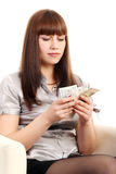 Business Woman counts money Stock Images