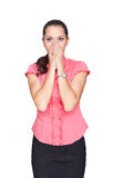 Business woman cover her face with hands Stock Image