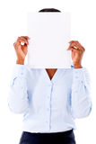 Business woman covering with banner Royalty Free Stock Photos