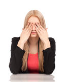 Business woman covering her eyes Stock Images