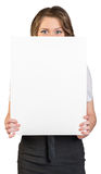Business woman covering her face poster Royalty Free Stock Images