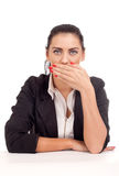 Business woman covering her mouth Royalty Free Stock Photography
