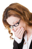 Business woman covering her mouth . Royalty Free Stock Photography