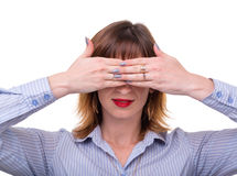 Business woman covers her face with his hand. Closeup portrait of business woman covers her face with his hand Stock Image