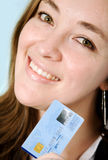 Business woman with credit card Stock Photo