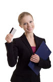 Business woman with a credit card. Young business woman with a credit card stock photos