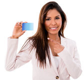Business woman with a credit card Stock Photos