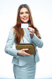 Business woman with credit card and purse. Smiling model white Stock Photo