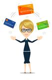 Business woman with credit card to pay. Business woman choosing which credit card to pay with.. Stock vector illustration for poster, greeting card, website, ad vector illustration