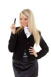 Business woman with credit card. Royalty Free Stock Photos