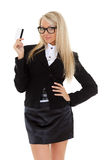 Business woman with credit card. Stock Photo