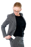 Business woman with a credit card in your pocket Royalty Free Stock Photo