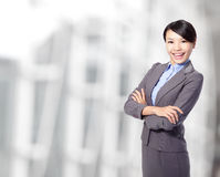 Business woman cross arms at office Royalty Free Stock Images